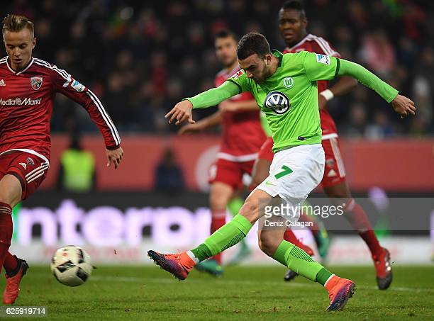 Borja Mayoral of Wolfsburg in action during the Bundesliga match between FC Ingolstadt 04 and VfL Wolfsburg at Audi Sportpark on November 26 2016 in...