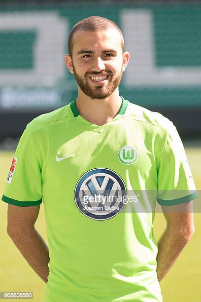 Borja Mayoral poses during the official team presentation of VfL Wolfsburg at Volkswagen Arena on September 14 2016 in Wolfsburg Germany
