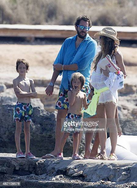 Borja ThyssenBornemisza Blanca Cuesta and their sons Sacha and Eric are seen celebrating Borja's 35th birthday on July 24 2015 in Ibiza Spain