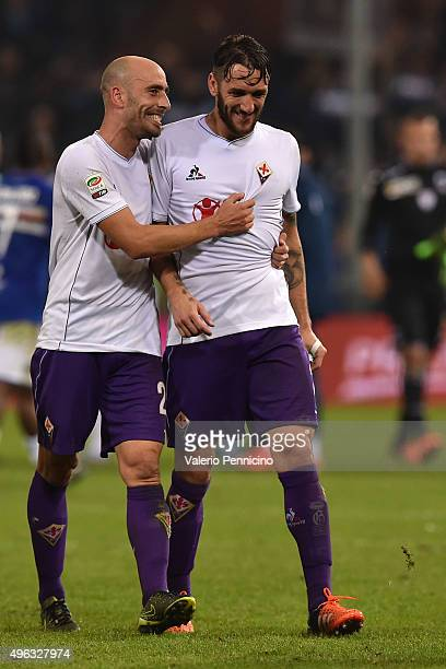 Borja Valero and Gonzalo Rodriguez of ACF Fiorentina celebrate victory at the end of the Serie A match between UC Sampdoria and ACF Fiorentina at...