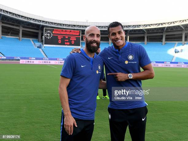 Borja Valero and Jeison Murillo of FC Internazionale look on before the press conference on July 20 2017 in Changzhou China