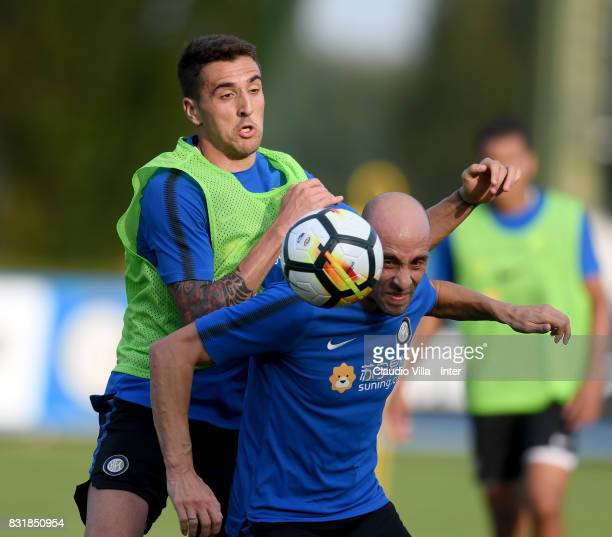Borja Valero and Matias Vecino of FC Internazionale compete for the ball during a training session at Suning Training Center at Appiano Gentile on...