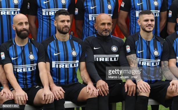 Borja Valero Antonio Candreva FC Internazionale Milano coach Luciano Spalletti and Mauro Emanuel Icardi of FC Internazionale back stage during the FC...