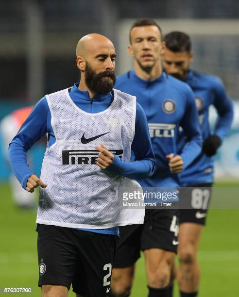 Borja Valero Iglesias of FC Internazionale warms up ahead of the Serie A match between FC Internazionale and Atalanta BC at Stadio Giuseppe Meazza on...