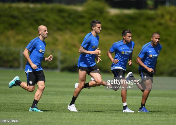 Borja Valero Matias Vecino Jeison Murillo and Rigoberto Rivas of FC Internazionale looks on during a training session at Suning Training Center at...