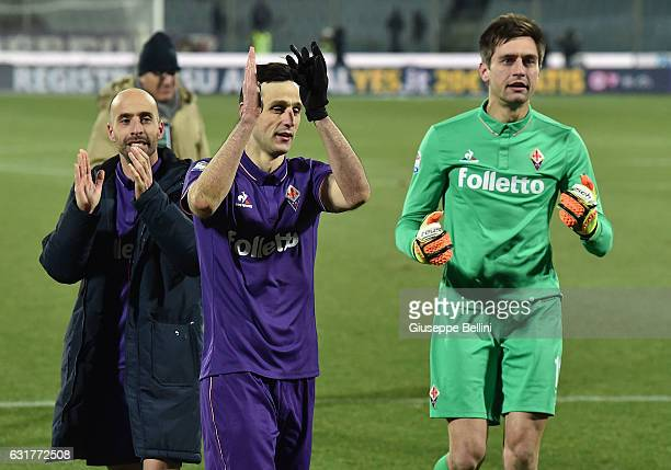 Borja Valero Nikola Kalinic and Ciprian Tatarusanu of ACF Fiorentina celebrate the victory after the Serie A match between ACF Fiorentina and...