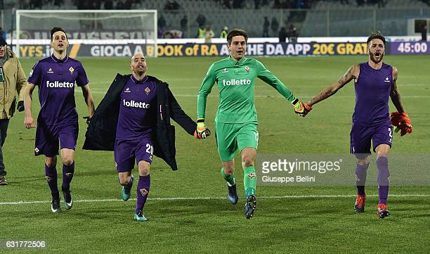 Borja Valero Nikola Kalinic Ciprian Tatarusanu and Gonzalo Rodriguez of ACF Fiorentina celebrate the victory after the Serie A match between ACF...