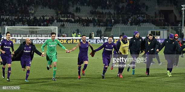 Borja Valero Nikola Kalinic Ciprian Tatarusanu Gonzalo Rodriguez and Federico Bernardeschi of ACF Fiorentina celebrate the victory after the Serie A...