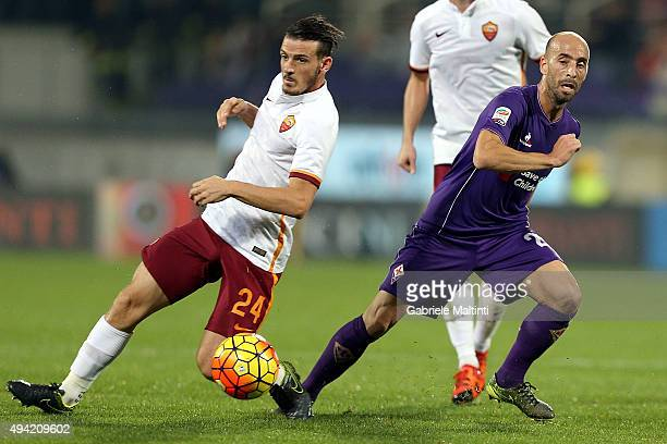 Borja Valero of ACF Fiorentina battles for the ball with Alessandro Florenzi of AS Roma during the Serie A match between ACF Fiorentina and AS Roma...