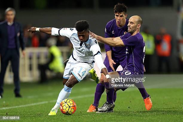 Borja Valero of ACF Fiorentina battles for the ball with Keita Balde of SS Lazio during the Serie A match between ACF Fiorentina and SS Lazio at...