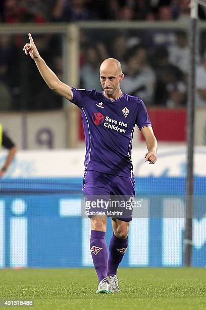 Borja Valero of ACF Fiorentina celebrates after scoring a goal during the Serie A match between ACF Fiorentina and Atalanta BC at Stadio Artemio...