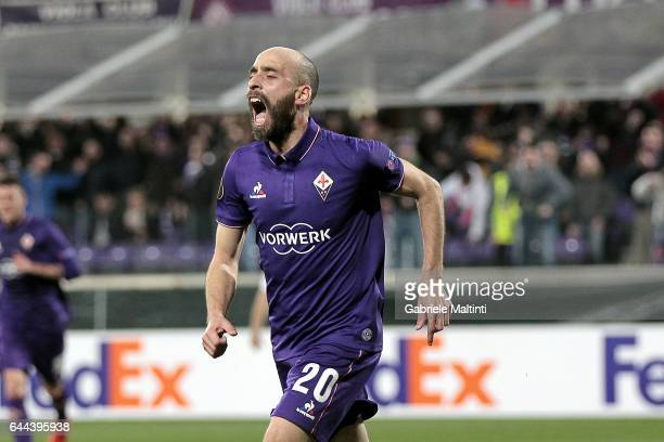 Borja Valero of ACF Fiorentina celebrates after scoring a goal during the UEFA Europa League Round of 32 second leg match between ACF Fiorentina and...