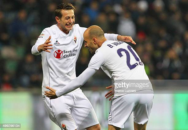Borja Valero of ACF Fiorentina celebrates with his teammate Federico Bernardeschi after scoring the opening goal during the Serie A match between US...