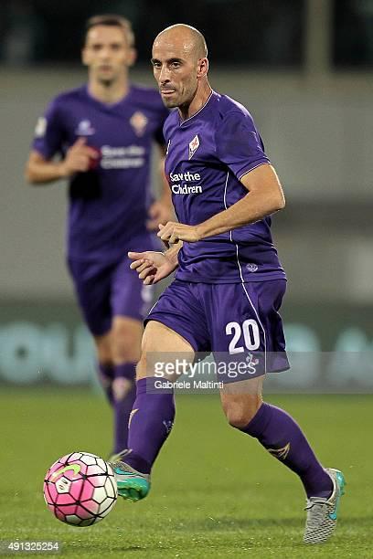 Borja Valero of ACF Fiorentina in action during the Serie A match between ACF Fiorentina and Atalanta BC at Stadio Artemio Franchi on October 4 2015...