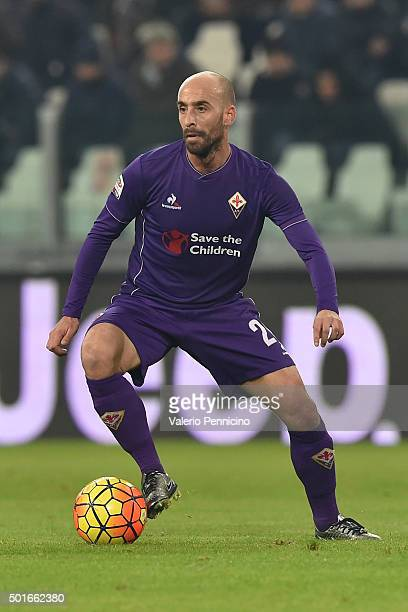 Borja Valero of ACF Fiorentina in action during the Serie A match betweeen Juventus FC and ACF Fiorentina at Juventus Arena on December 13 2015 in...