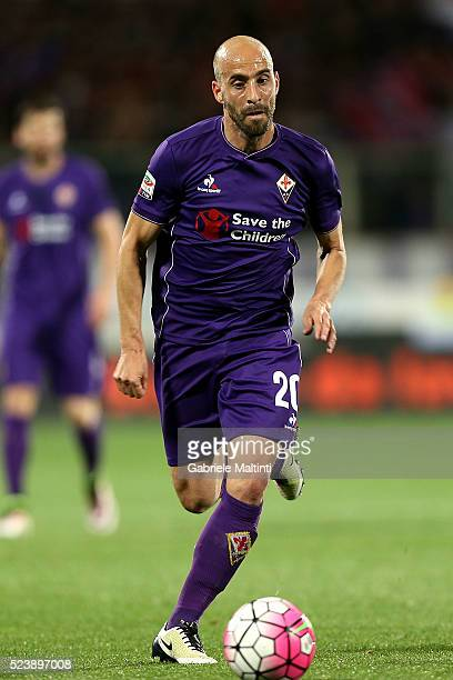 Borja Valero of ACF Fiorentina in action during the Serie A match between ACF Fiorentina and Juventus FC at Stadio Artemio Franchi on April 24 2016...