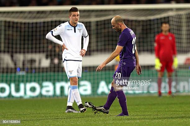 Borja Valero of ACF Fiorentina kicking his shoe during the Serie A match between ACF Fiorentina and SS Lazio at Stadio Artemio Franchi on January 9...