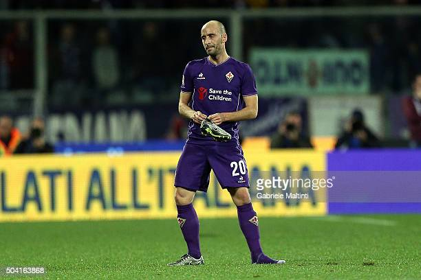 Borja Valero of ACF Fiorentina reacts during the Serie A match between ACF Fiorentina and SS Lazio at Stadio Artemio Franchi on January 9 2016 in...