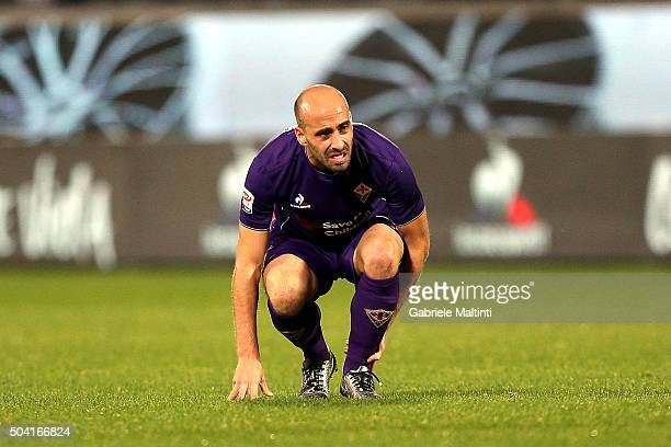 Borja Valero of ACF Fiorentina shows his dejection during the Serie A match between ACF Fiorentina and SS Lazio at Stadio Artemio Franchi on January...