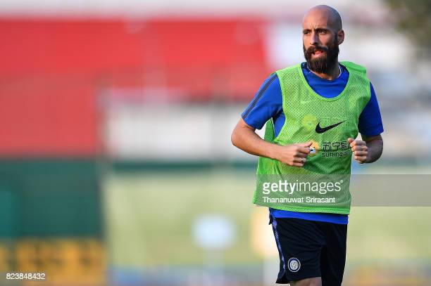 Borja Valero of FC Interernazionale runs during an official ICC Singapore Training Session at Bishan Stadium on July 28 2017 in Singapore