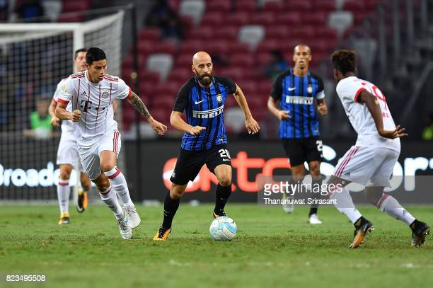Borja Valero of FC Interernazionale runs with the ball during the International Champions Cup match between FC Bayern Munich and FC Internazionale at...