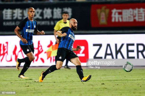 Borja Valero of FC Internationale reacts during the 2017 International Champions Cup football match between FC Internationale v Olympique Lyonnais at...