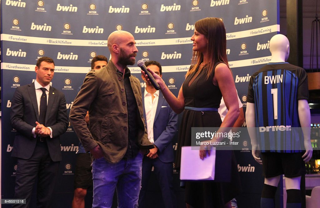 Borja Valero of FC Internazionale and Barbara Pedrotti attend BWin event on September 13, 2017 in Milan, Italy.