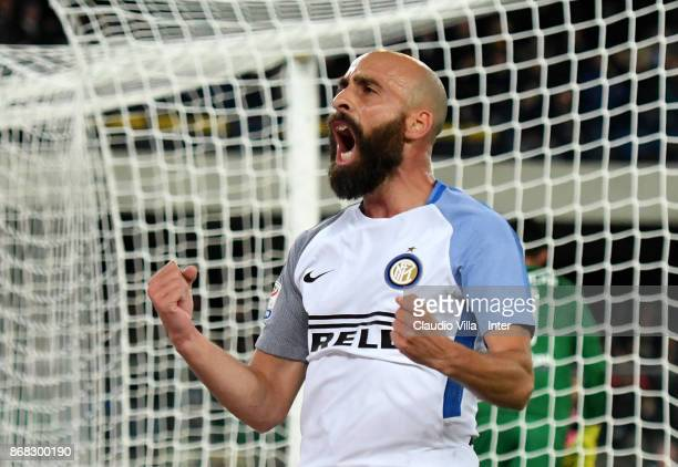 Borja Valero of FC Internazionale celebrates after scoring the opening goal during the Serie A match between Hellas Verona FC and FC Internazionale...