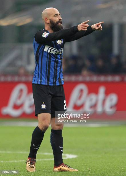 Borja Valero of FC Internazionale gestures during the Serie A match between FC Internazionale and AC Chievo Verona at Stadio Giuseppe Meazza on...