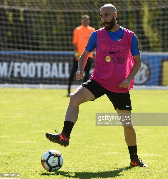 Borja Valero of FC Internazionale in action during a FC Internazionale Training Session at Appiano Gentile on October 6 2017 in Como Italy