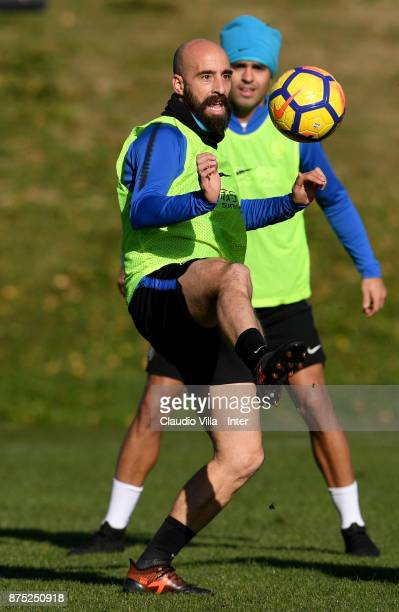 Borja Valero of FC Internazionale in action during the FC Internazionale training session at Suning Training Center at Appiano Gentile on November 17...