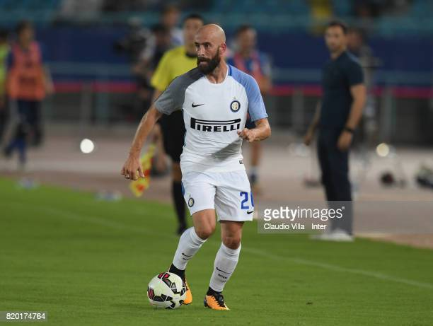 Borja Valero of FC Internazionale in action during the preseason friendly match between FC Internazionale and FC Schalke 04 at Olympic Stadium on...