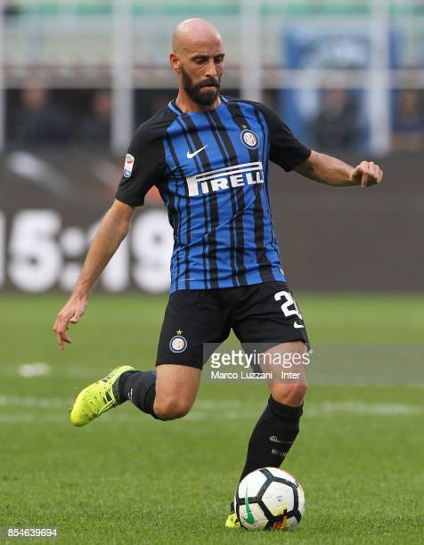 Borja Valero of FC Internazionale in action during the Serie A match between FC Internazionale and Genoa CFC at Stadio Giuseppe Meazza on September...