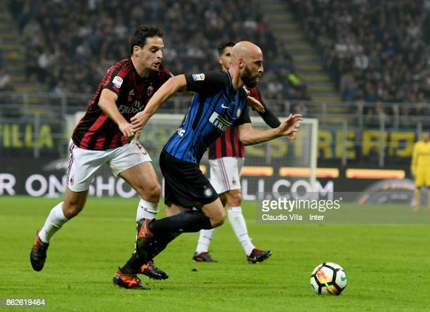 Borja Valero of FC Internazionale in action during the Serie A match between FC Internazionale and AC Milan at Stadio Giuseppe Meazza on October 15...