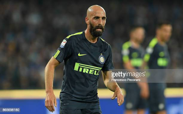 Borja Valero of FC Internazionale in action during the Serie A match between SSC Napoli and FC Internazionale at Stadio San Paolo on October 21 2017...