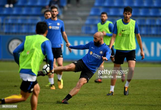 Borja Valero of FC Internazionale in action during the training session at Suning Training Center at Appiano Gentile on October 19 2017 in Como Italy