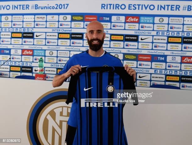 Borja Valero of FC Internazionale speaks with the media during a press conference on July 12 2017 in Reischach near Bruneck Italy
