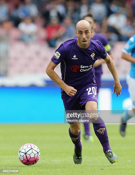 Borja Valero of Fiorentina during the Serie A match between SSC Napoli and ACF Fiorentina at Stadio San Paolo on October 18 2015 in Naples Italy