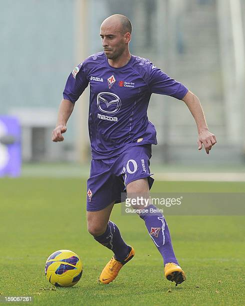 Borja Valero of Fiorentina in action during the Serie A match between ACF Fiorentina and Pescara at Stadio Artemio Franchi on January 6 2013 in...