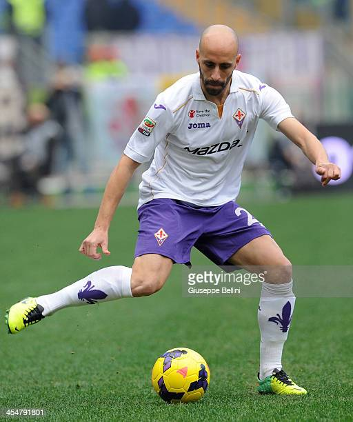 Borja Valero of Fiorentina in action during the Serie A match between AS Roma and ACF Fiorentina at Stadio Olimpico on December 8 2013 in Rome Italy