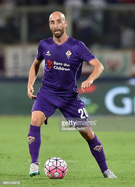 Borja Valero of Fiorentina in action during the Serie A match between ACF Fiorentina and AC Milan at Stadio Artemio Franchi on August 23 2015 in...