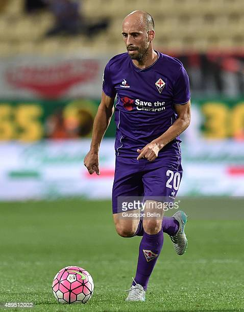 Borja Valero of Fiorentina in action during the Serie A match between Carpi FC and ACF Fiorentina at Alberto Braglia Stadium on September 20 2015 in...