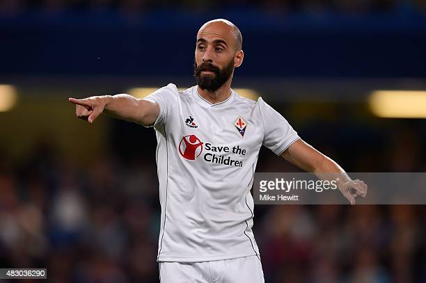 Borja Valero of Fiorentina points during a Pre Season Friendly between Chelsea and Fiorentina at Stamford Bridge on August 5 2015 in London England