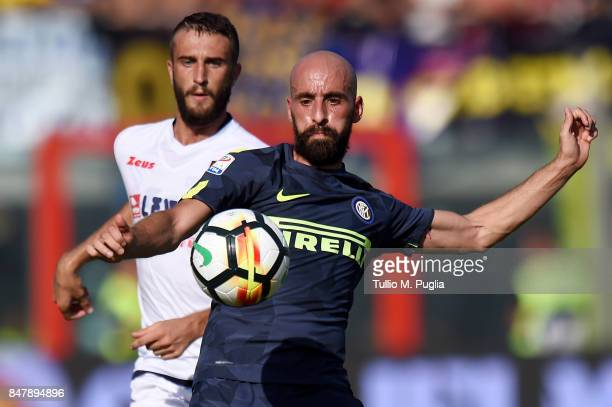Borja Valero of Internazionale holds off the challenge from Andrea Barberis of Crotone during the Serie A match between FC Crotone and FC...