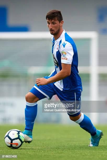 Borja Valle of Deportivo de La Coruna in action during the preseason friendly match between Cerceda and Deportivo de La Coruna at O Roxo Stadium on...