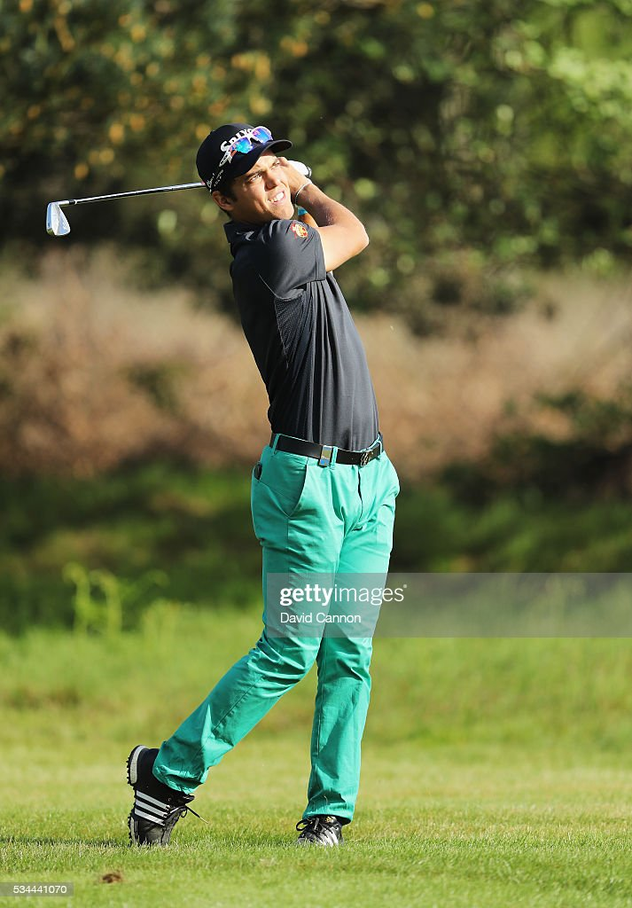 Borja Virto Astudillo of Spain in action during day one of the BMW PGA Championship at Wentworth on May 26, 2016 in Virginia Water, England.