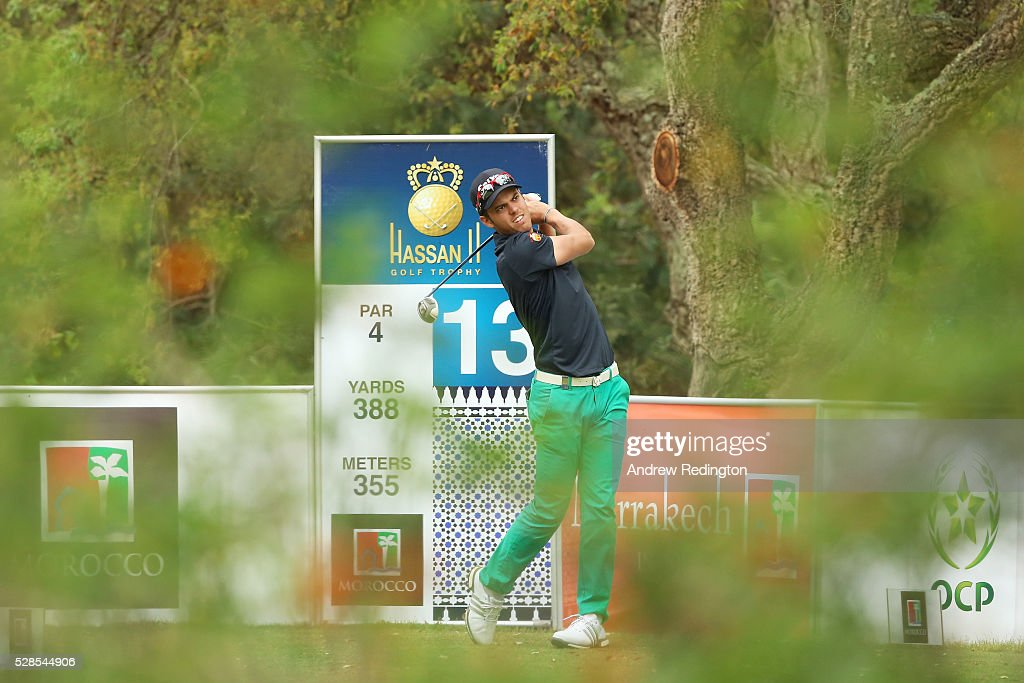 Borja Virto Astudillo of Spain plays his tee shot on the 13th hole during the second round of the Trophee Hassan II at Royal Golf Dar Es Salam on May 6, 2016 in Rabat, Morocco.