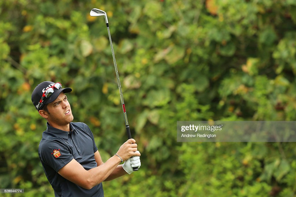 Borja Virto Astudillo of Spain plays his tee shot on the 14th hole during the second round of the Trophee Hassan II at Royal Golf Dar Es Salam on May 6, 2016 in Rabat, Morocco.