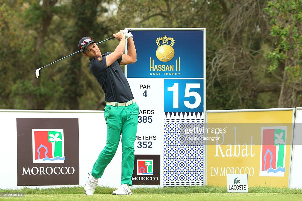 Borja Virto Astudillo of Spain plays his tee shot on the 15th hole during the second round of the Trophee Hassan II at Royal Golf Dar Es Salam on May 6, 2016 in Rabat, Morocco.