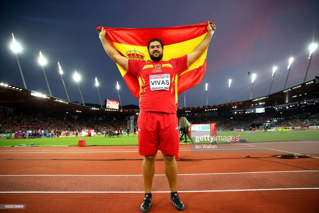 Borja Vivas of Spain celebrates as he win silver in the Men's Shot Put final during day one of the 22nd European Athletics Championships at Stadium Letzigrund on August 12, 2014 in Zurich, Switzerland.